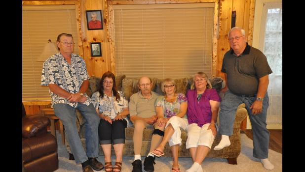 Three Mondovi sisters either have or will mark their 50th wedding anniversaries this year with their spouses. Pictured, left to right, are 50th anniversary honorees Ken and Linda Wulff, Dean and Sally McGee, and Dale and Rene Laehn. A joint celebration for the three couples is set for this Saturday, July 1.