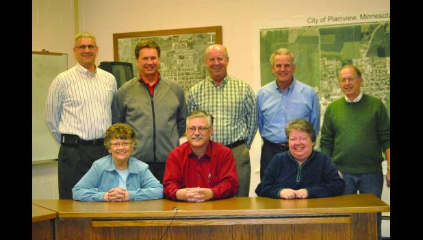 The Plainview Area Foundation Board of Directors includes, sitting L to R: Paula Lewis, Kent Harrington (Chairman), and Donna Christison; Back Row L to R: Brent Wohlers, Ken Zarling, Chuck Coggins, Dick Zabel, and Merlin Bratberg.  Also on the Board and not present are Gary Kuphal and Steve Jack.  Ph