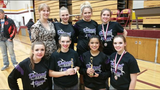 The Durand varsity dance team, coached by Olivia Hollister of Durand, recently competed at two competitions: Conference in Barron, where they were named conference champs for jazz and hip hop, and at the Freedom Invitational, where they received the Team Sportsmanship award. Our solos and ensembles that received medals included: Dianne Page, solo, Desiree Stafford, solo, and Marissa Bauer and Danielle Eraquam, duet. The team will be competing at Western Regionals in New Richmond on January 31st.