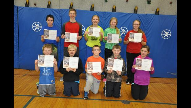 Age group winners of the 2016 Knights of Columbus Free Throw Championship, held in Mondovi on Wednesday afternoon, Jan. 20, include, front row, left to right, Hunter Sandberg, 9, Max Marten, 11, Carter Lessman, 10, Evan Gray, 12, Brooklyn Bauer, 9; back, Steven Aguilar, 13, Carter Johnson, 14, Emmy Everson, 12, Paige Everson, 10, Karissa O'Connell, 13. Not pictured—Sarah Fath, 12.