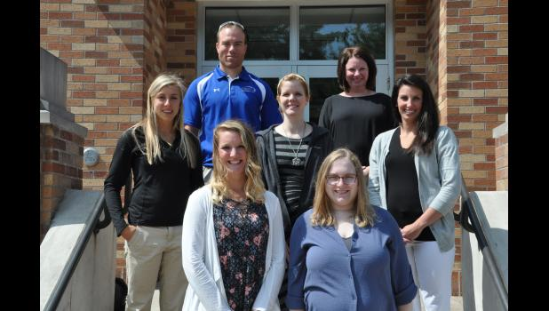 Teachers new to the School District of Mondovi for the 2017-18 school year are, front, left to right, Lindsay Carroll, second grade; Amy Vida, high school English; middle, Sydney Pretasky, fifth grade; Kayla Bauer, FACS; Courtney Sebesta, early childhood; back, Craig Loscheider, middle school special education; Anna Sandberg, third grade.