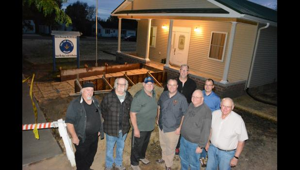 As the recent multi-year renovation project at the Buffalo River Lodge drew to a close, several members posed in front of the building. The Masonic Lodge, located on S. Franklin St., Mondovi, is preparing to celebrate its 125th anniversary with a rededication ceremony, meal, and open house set for this Sunday, Oct. 15. Pictured, left to right, are Kevin LeQue, Randy Johnston, Mike Hayden, Brian Trowbridge, Eric Johnson, James Trowbridge, Jason Hayden and Larry Drangstveit.