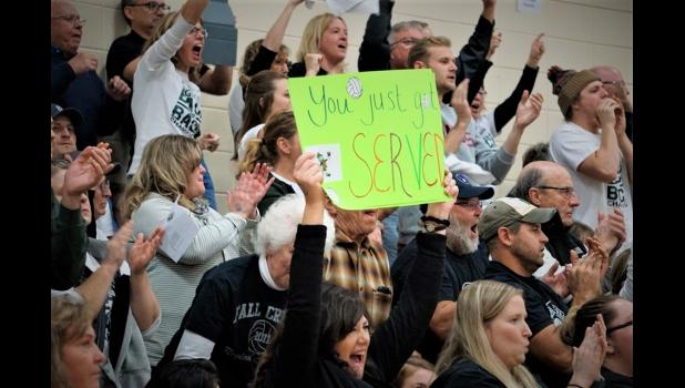 Fall Creek fans give a big cheer during the sectional finals match. Photo by Fall Creek Sports History