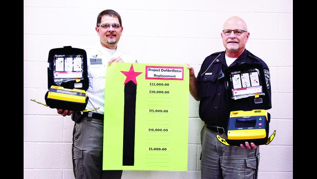 Pepin County Sheriff Joel Wener and Pepin County Communications Corrections Officer/Project Defibrillator Replacement coordinator Don Sinz are pictured with two of the new Automatic External Defibrillators. Laura Berndt photo