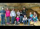 Many Gilmanton students wrote their name on the popular cave wall atop of Mount Tom of Gilmanton on May 13. Sitting: Julianna Beggs, Katie Lisowski, Lydia Evans, Katelynn Nelson; Standing: Wyatt Clouse, Morgan Guenther, Zachary Turner, Taylor Jesse, Carson Rieck, Devon Werlein.