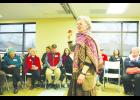 """Andrea Myklebust addressed a gathering of Pepin County residents on Saturday, March 25, at Pepin Village Hall. The group met to discuss a """"Welcoming Community"""" resolution, following an incident of racial harassment in Pepin.  Lu Lippold photo"""