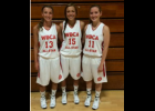 Girls prep hoops standouts (left to right) Kara Enos of Eleva-Strum, Jenna Franzwa of Mondovi and Brittany Laehn of Gilmanton recently helped lift the Division 4 and 5 North teams to victories over their South opponents during the 2014 WBCA All-Star Games. Enos and Laehn were teammates on the D5 North team while Franzwa played for the D4 squad.