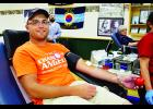 Travis Brantner, of Durand, donated blood during last Monday's blood drive at the Durand Masonic Community Center. Laura Berndt photo