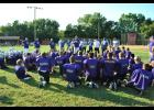 Last Thursday, August 25, members of the Durand Youth Football League enjoyed the opportunity to learn from the Menonomie Thunderhawks during practice. Above, the players take a knee as their coaches welcome the Thunderhawks to Durand's Tarrant Park. Laura Berndt photo